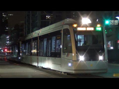 Houston TX MetroRail Trains at Night - February 2016