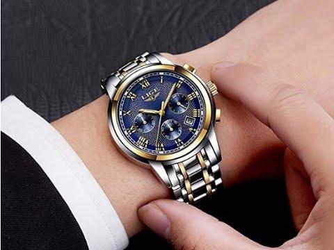 Lige Mens Watches Waterproof Chronograph Stainless Steel Analog Quartz Watch