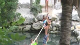 Kids Crossing Rope Bridge-cancun