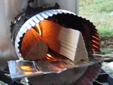 Rocket Stove Cooking a Hot Dog