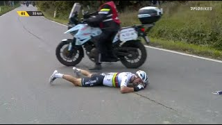 Julian Alaphilippe Crashes Into Motorbike At Tour of Flanders