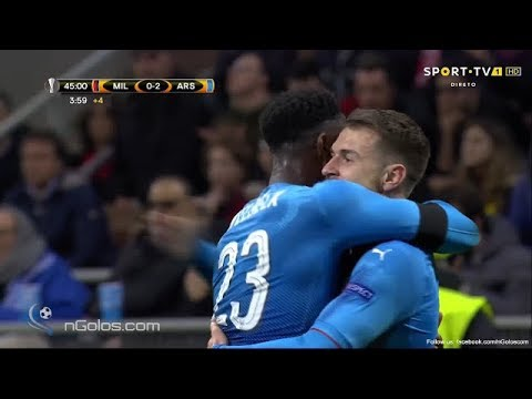 Aaron ramsey scores for arsenal 2-0 ac milan san siro europa league bt sport