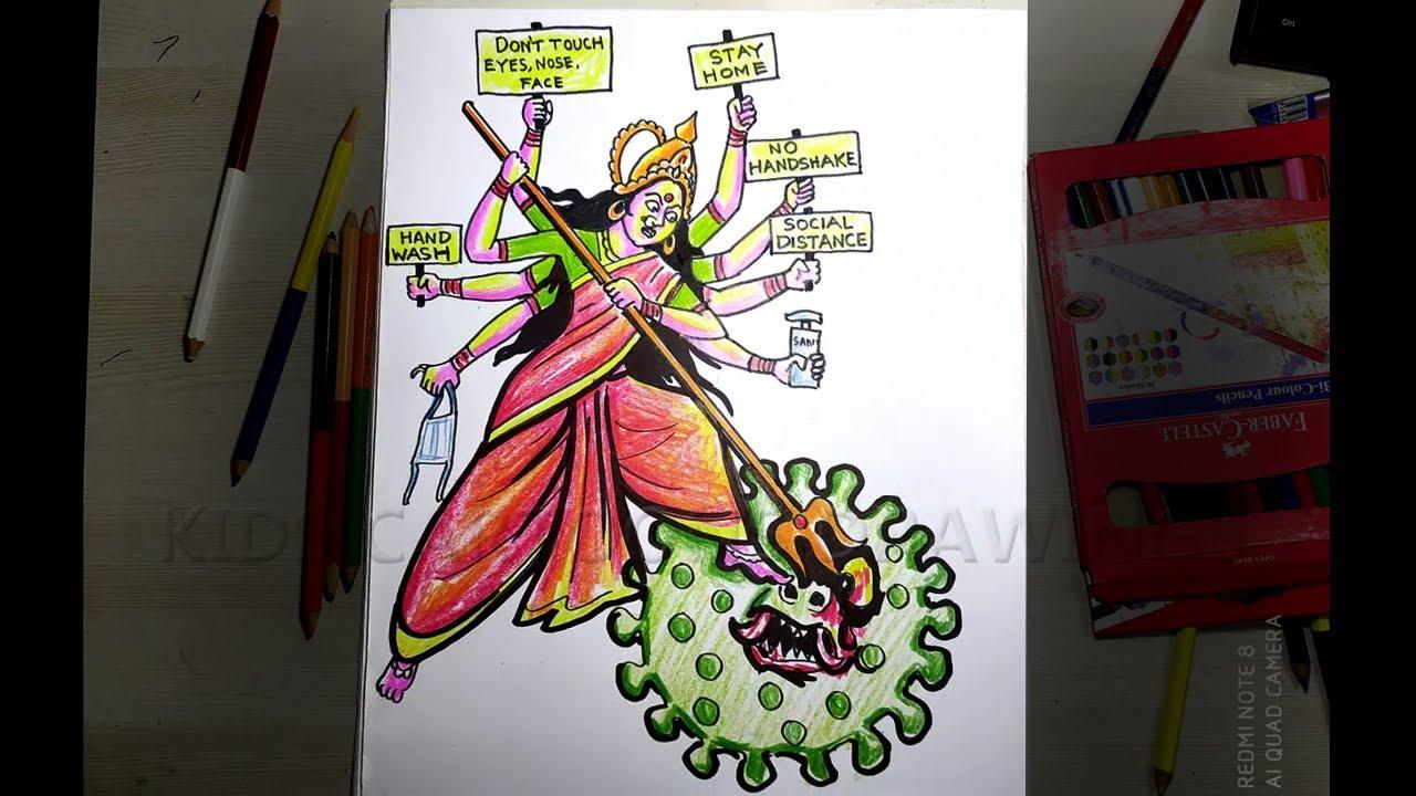 How to Draw Maa Durga Killing Coronavirus / Goddess Durga Killing Corona Drawing / Durga save us