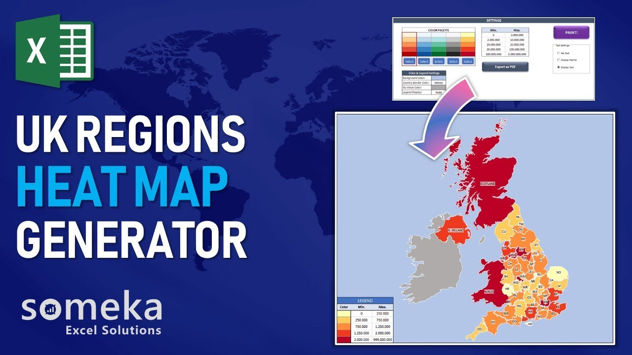 Map Of Uk Template.Uk Heat Map Excel Template Automatic City Counties Coloring