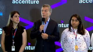 El presidente Macri en la inauguración de las oficinas de la empresa Accenture