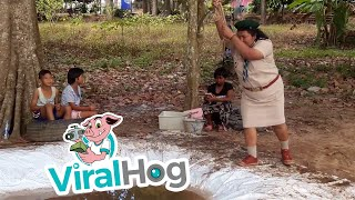 Scout Leader Shows Students How Not to Swing || ViralHog