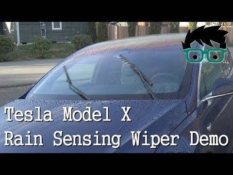 Tesla Model X Auto Sense Wiper Demo (FW 2017.50.3)