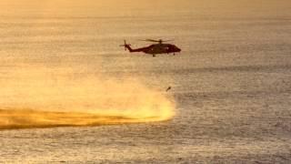 Rescue 117 Irish Coast Guard training in Tramore Bay