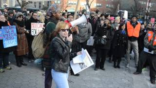 Socialist Alternative member giving a speech at March 4 Bernie NYC