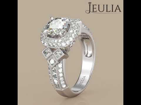 Jeulia Luxurious Double Halo Round Engagement Ring