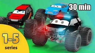 Monster Truck Cartoon Compilation for Children   Monster Truck Kids Video   Five Episodes