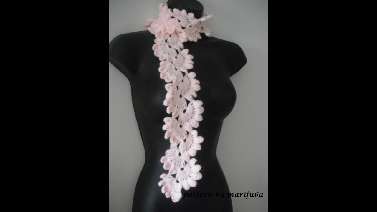 Free Crochet Pattern Irish Lace Scarf : how to crochet pink scarf free pattern,tutorial for ...