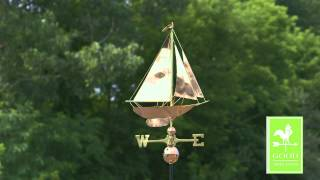 Good Directions 909p Racing Sloop Weathervane - Polished Copper