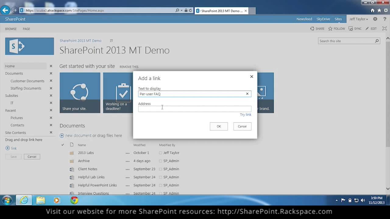 How to Edit Quick Launch Navigation Links in SharePoint 2013