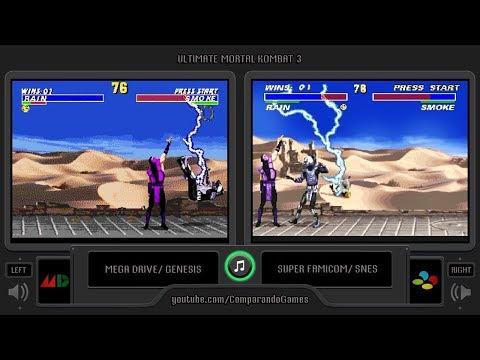 Ultimate Mortal Kombat 3 (Sega Genesis vs Snes) Side by Side Comparison