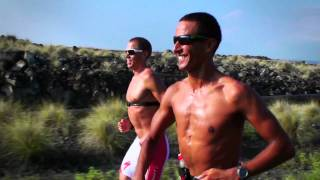 Macca and the boys running on the KK Highway in Kona, 2010