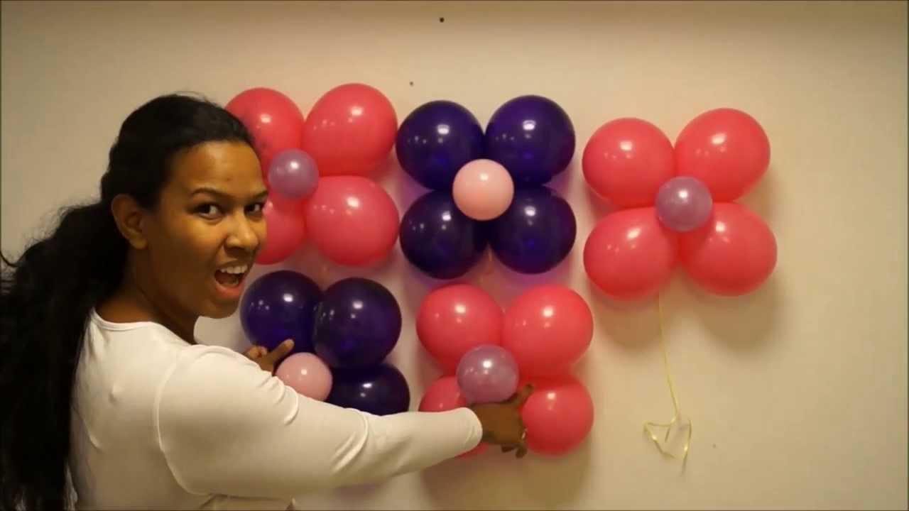 Pared en globos paso a paso youtube for Decoracion para pared con globos