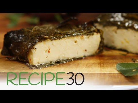 Hot Baked Feta Cheese in Grapevine Leaves