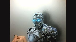 drawing time lapse - hyperrealistic art : how to draw iron man chrome