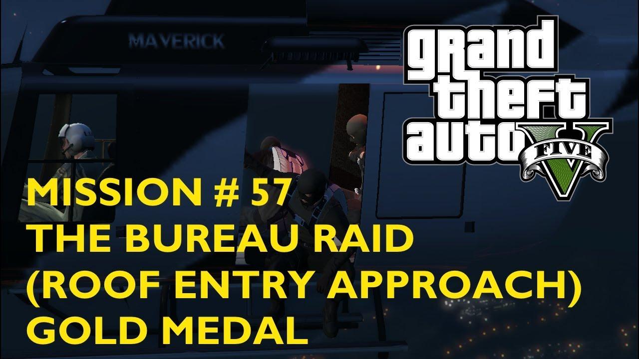 Gta 5 Mission 57 The Bureau Raid Roof Entry Approach Gold Medal Walkthrough Youtube