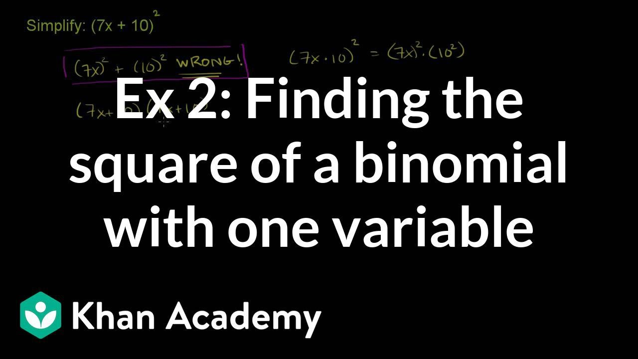 Example 2 Finding The Square Of A Binomial With One Variable