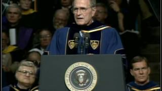 George H. W. Bush delivers the 1992 Commencement Address at the University of Notre Dame