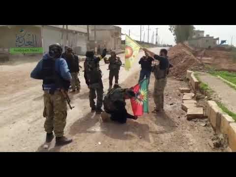 مقاتلو الجيش السوري الحر داخل شران بمنطقة عفرين بعد السيطرة عليها