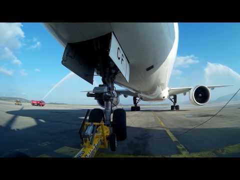 2nd video: Pushing back Emirates EK209 Water salutation Athens to Newark