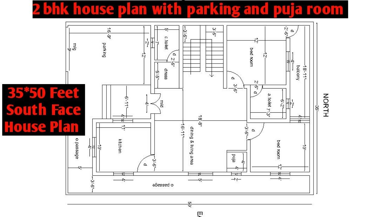35x50 feet south facing house plan | 2 bhk south facing house plan with  parking and puja room
