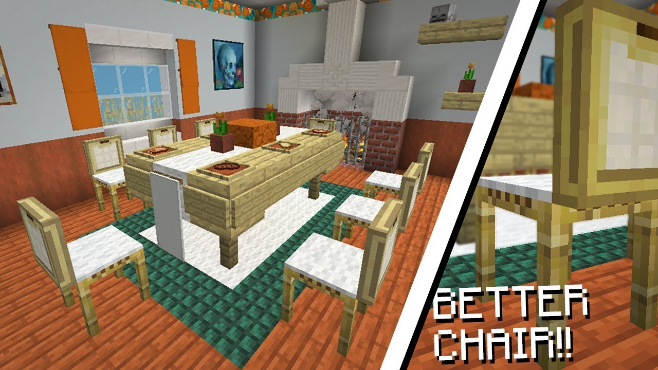 Minecraft 9.94, MCPE  How to make a Realistic Dinner Table