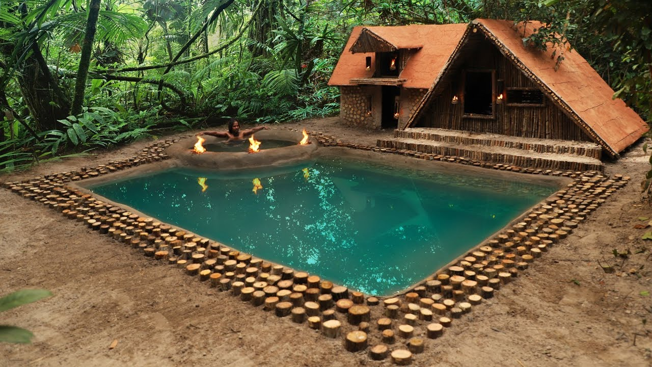 Primitive Builder Adds A Pool To His New Free House