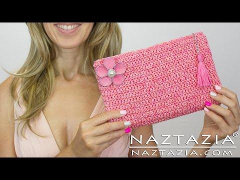 DIY Tutorial - How to Crochet Easy Beginner Evening Bag Clutch Purse - Bolsa Borsa Zipper Lining