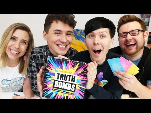 Thumbnail: Dan and Phil play TRUTH BOMBS! (with Tom and Hazel)