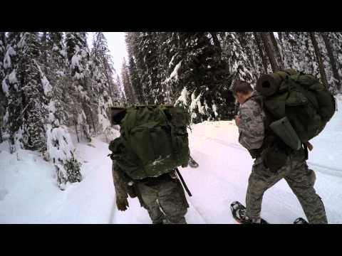 Snowshoeing to camp