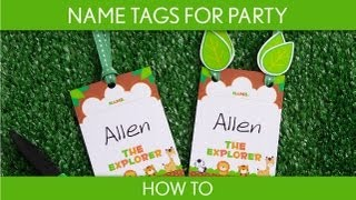 How to make : Name Tags For Party (baby shower) // Safari - S10