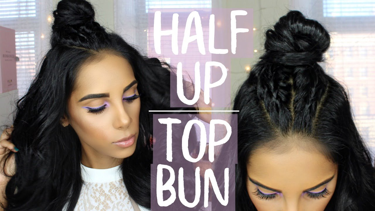 Top 1 Hairstyle: Braided Half Up Top Bun - Easy Hairstyle