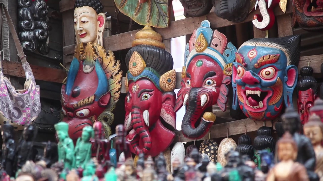 Nepali Traditional Wooden And Metal Mask Handicraft Arts And Antic