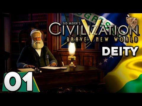 "Civilization V Brasil #01 ""Terra Nova"" - Deity Gameplay Português PT-BR"