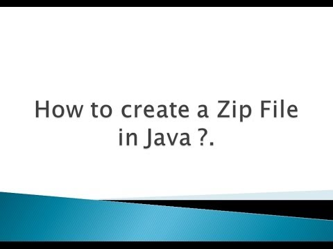 How to create a Zip File in Java ?.