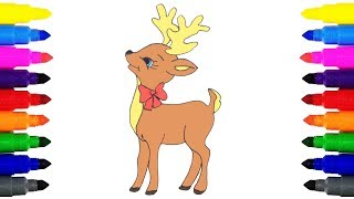 How to Draw a Reindeer for Kids | Drawing and Coloring Clarice the Reindeer for Kids