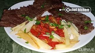 طريقة قلي اللحم {steak} و الفطر بمرق اللحم