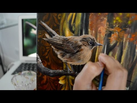 Autumn Surreal Painting Tutorial Oil over Acrylic Part 2