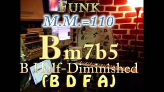 Bm7b5 Half-Diminished (B D F A) One Chord Backing Track - Funk M.M.=110
