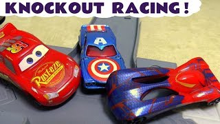 Cars Knockout Racing with Hot Wheels Superhero Cars Lightning McQueen and funny Funlings  TT4U