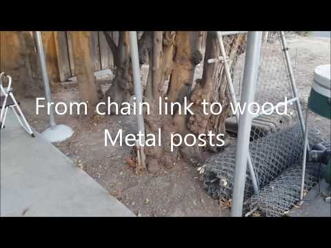 Chain Link to Wood Fence:  Metal Posts