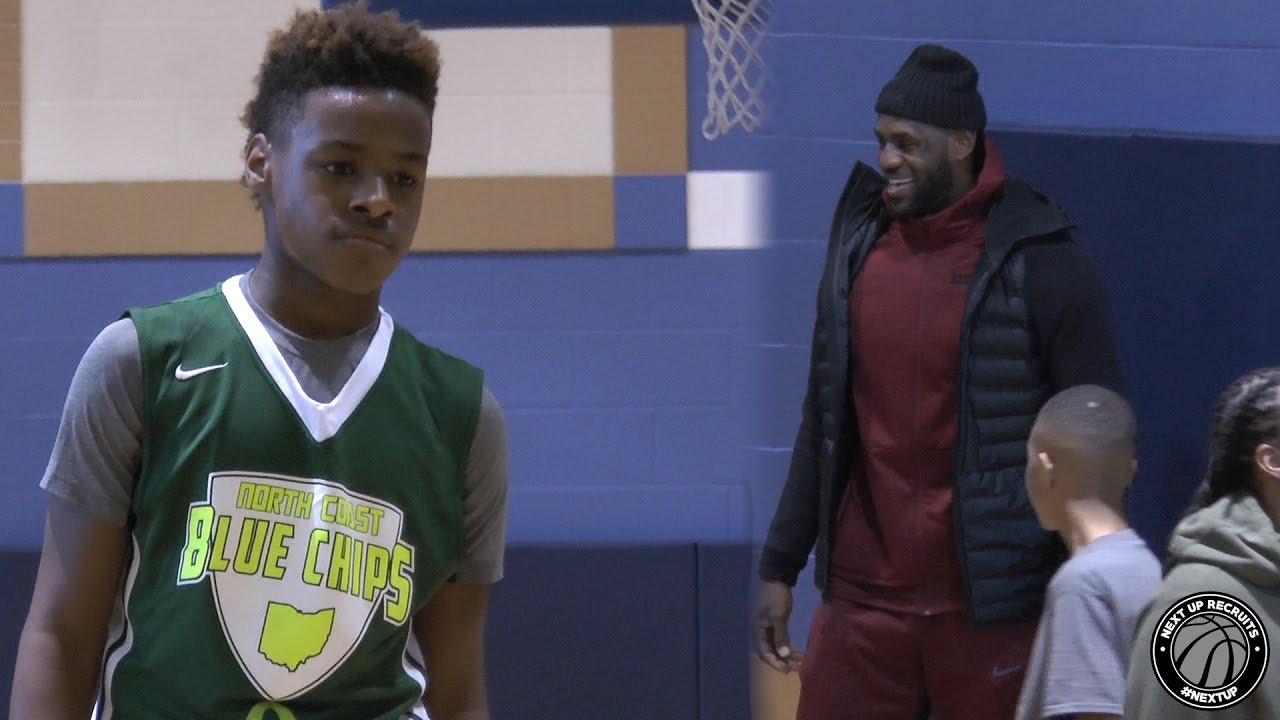 brand new 90c15 e5447 LeBron James Jr. shows off High IQ with King James watching!!! Bronny &  Blue Chips CRUISE in Akron