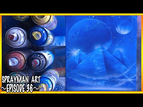 Pyramids Spray Paint Art  Blue Planet and Oasis World