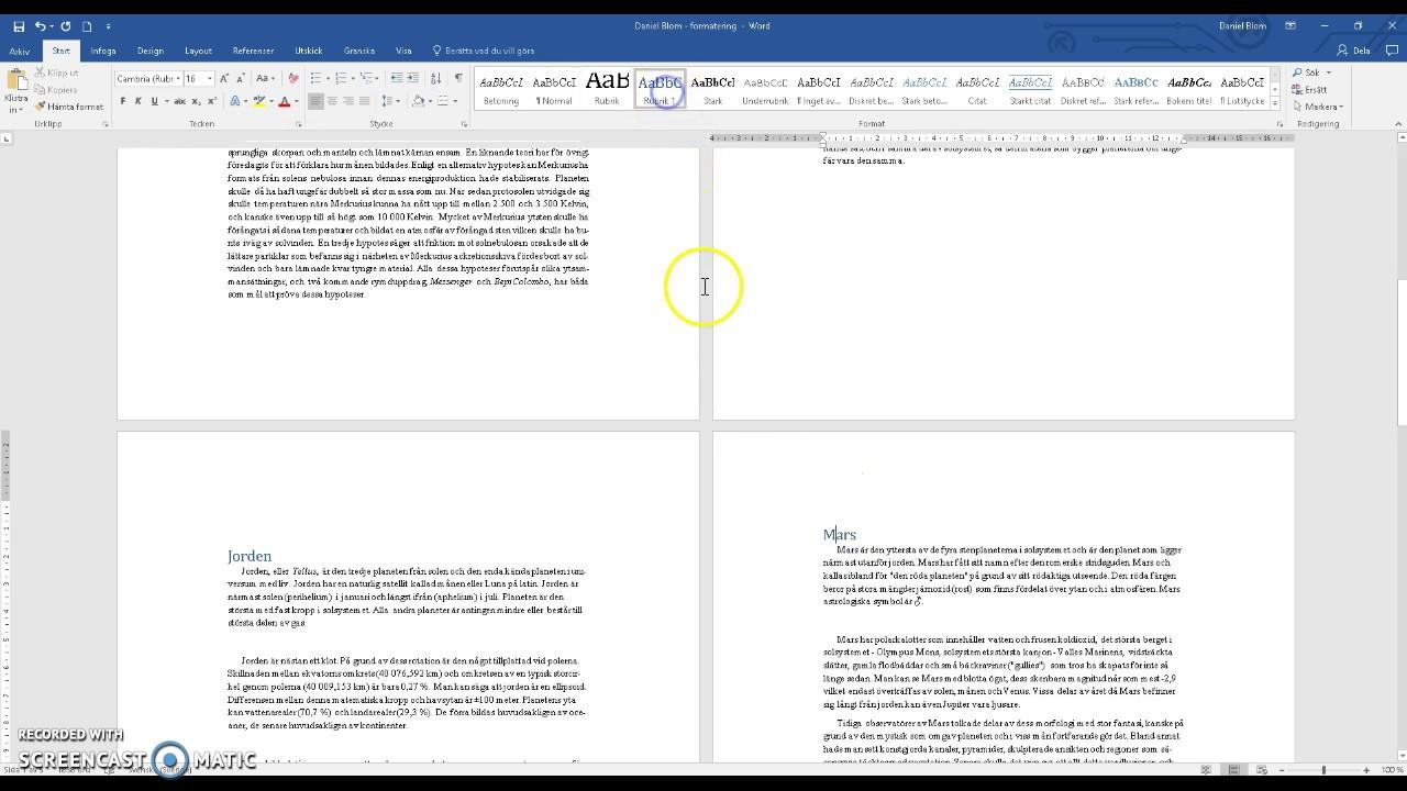 hur göra innehållsförteckning i word