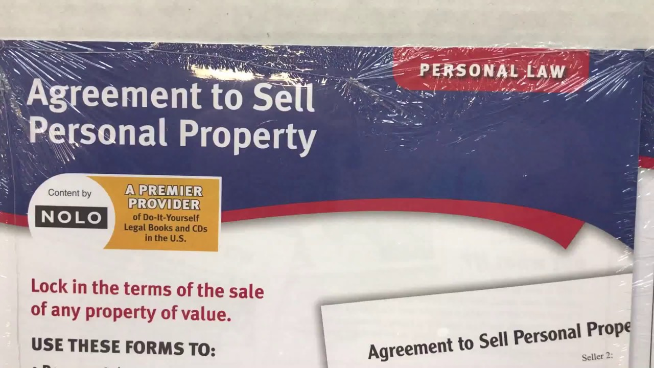 Agreement To Sell Personal Property Forms By Adams Lf115 Sb Legal Law Forms