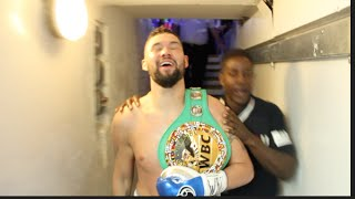 TONY BELLEW MOMENTS AFTER DESTROYING MAKABU TO BECOME WBC CHAMPION -*EXCLUSIVE BEHIND THE SCENES*